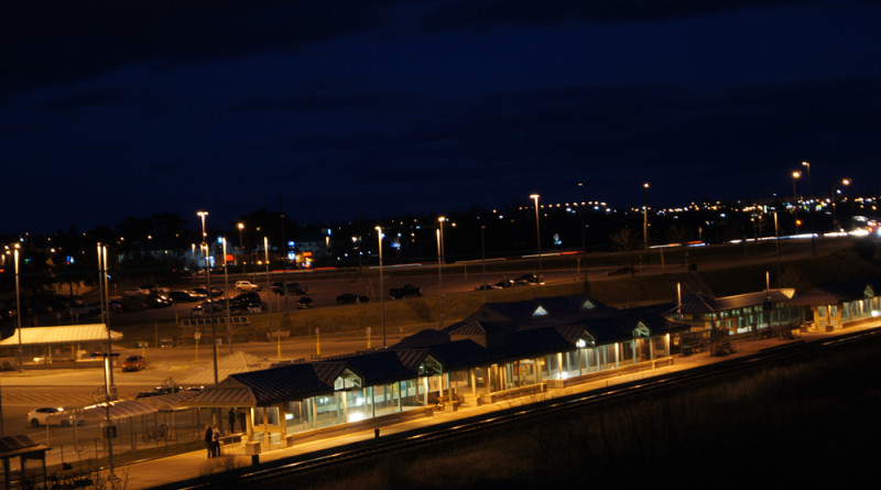 Whitby Go Train Station Night