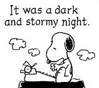 Snoopy the dog from the Peanuts cartoon writing.